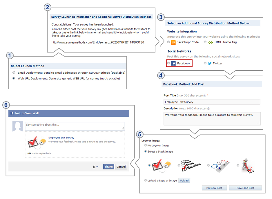 Distribute surveys via Facebook with SurveyMethods' Facebook integration method